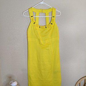 Yellow Beaded Halter Mini Dress